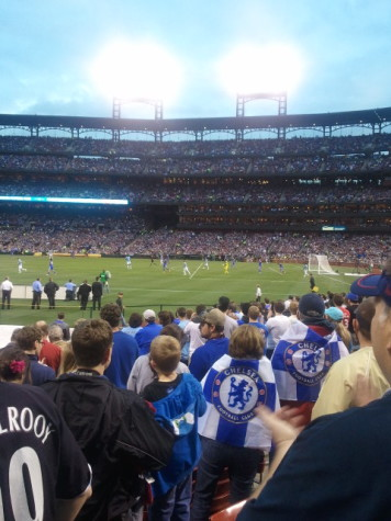 Chelsea FC and Manchester FC battle in a friendly at Busch Stadium on May 23rd.