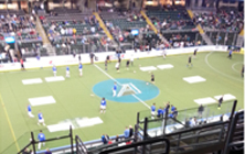 The St. Louis Ambush warm up before their game against the Missouri Comets at the Family Arena on November 23rd