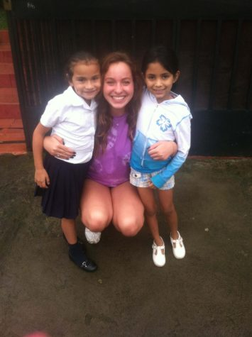 Mis chicas de Costa Rica. Allison and this sweet girl took this picture with after they finished playing with my hair. We started a braiding hair train. This was taken at the ophange, Adinfa.