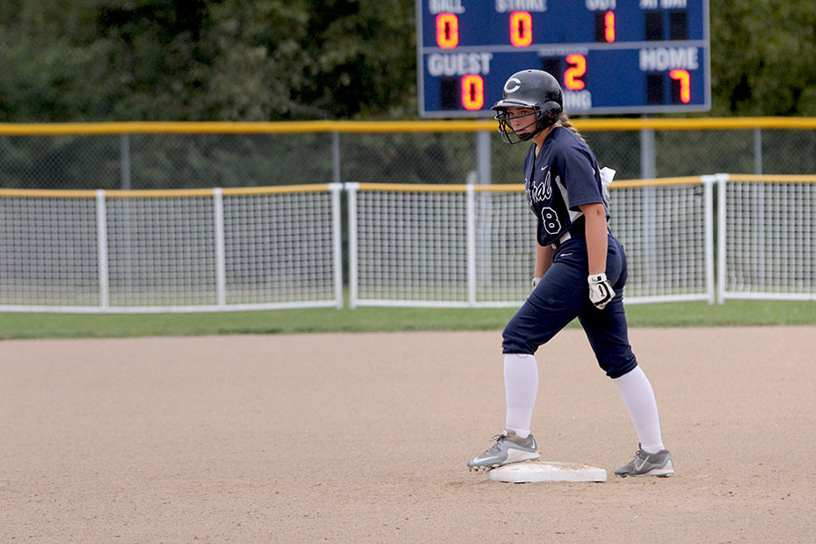 Lindsay Powell leading off. The Spartans won 14-4.