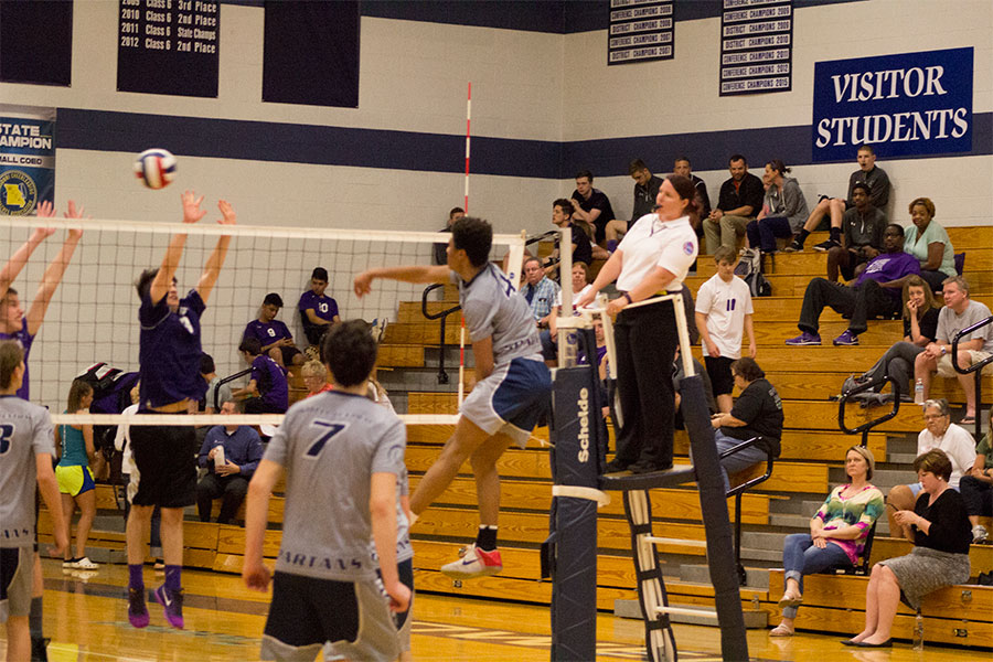 Sophomore+outside+hitter+Noah+Jami+sends+the+ball+over+for+a+successful+kill.+He%2C+along+with+the+other+forward+hitters%2C+form+a+strong+offense+for+the+JV+team.