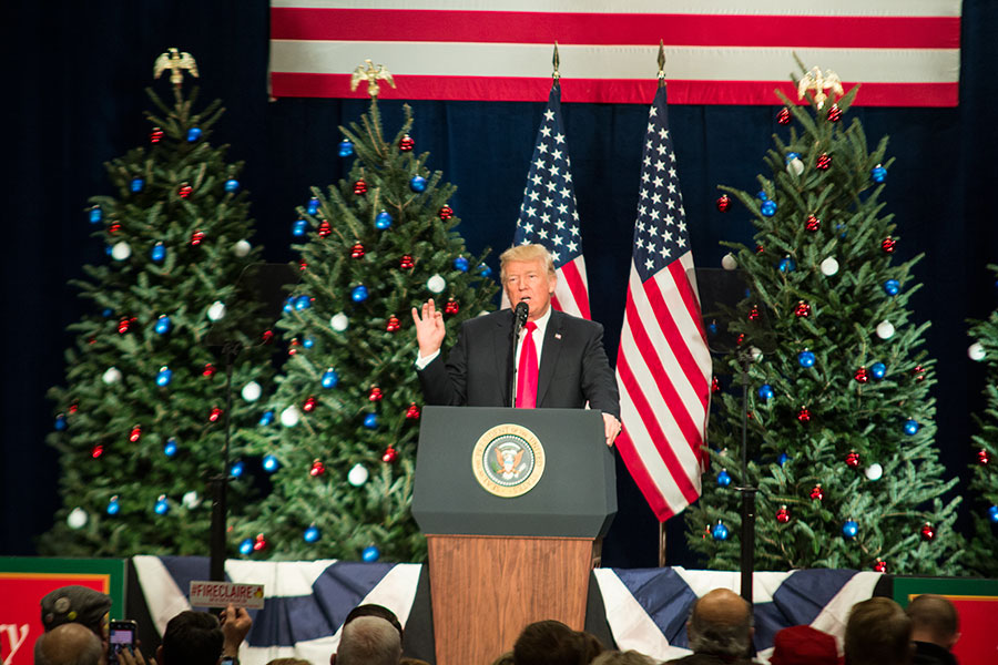 President Donald Trump delivers a speech at the St. Charles Convention Center. Here, he discussed tax cuts and small businesses to an enthusiastic crowd.