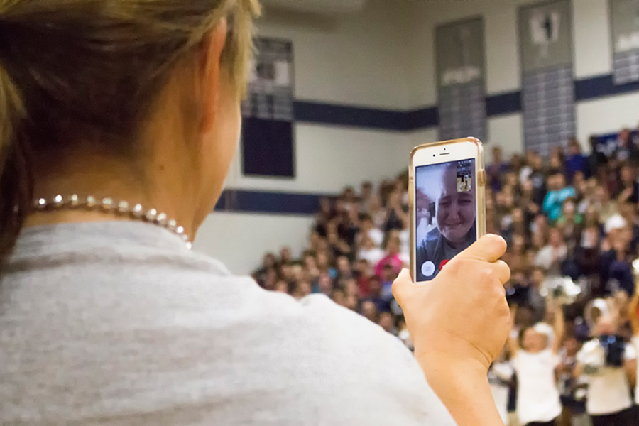 At a pep rally earlier in the year, Mrs. Fetsch face-timed with Ms. Siren.  At this point Mrs. Fetsch was still in the hospital being treated for leukemia which can be helped by bone marrow transplants.